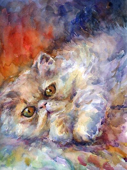 Watercolor Persian Cat painting Svetlana Novikova by Svetlana  Novikova