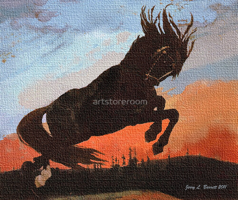 Leaping Black Stallion by artstoreroom
