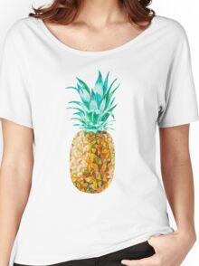 Low Poly Watercolor Pineapple Women's Relaxed Fit T-Shirt