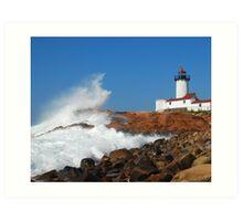 Wave Breaks on Eastern Point Light - Gloucester Art Print
