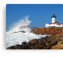 Wave Breaks on Eastern Point Light - Gloucester Canvas Print