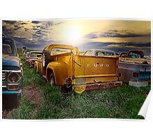 Ford Truck into the Sunset Poster