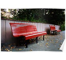 Red Benches Poster