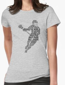 Lacrosse Player Calligram Womens Fitted T-Shirt