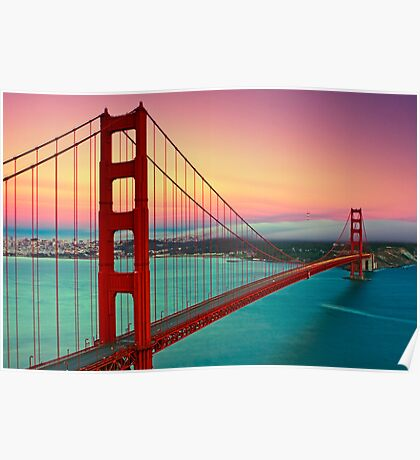 Golden Gate Bridge - Sunset Poster