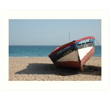 Lone Boat on beach Art Print