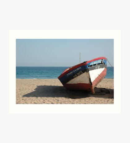 Lone Boat on beach Art Print