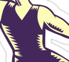 Basketball Player Dunk Ball Woodcut Sticker