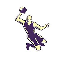 Basketball Player Dunk Ball Woodcut Photographic Print
