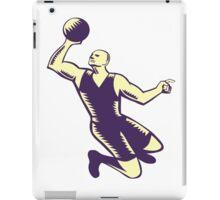 Basketball Player Dunk Ball Woodcut iPad Case/Skin