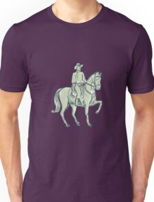 Cavalry Officer Riding Horse Etching Unisex T-Shirt