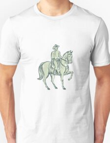 Cavalry Officer Riding Horse Etching T-Shirt