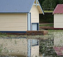 Blue Boat shed reflection by Kristina K