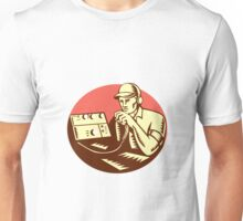 Ham Radio Operator Circle Woodcut Unisex T-Shirt
