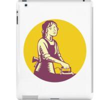 Housewife Ironing Circle Woodcut iPad Case/Skin
