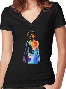 Jean-Michel Basquiat Splatter  Women's Fitted V-Neck T-Shirt