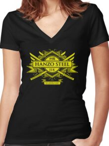 Hanzo Steel Women's Fitted V-Neck T-Shirt