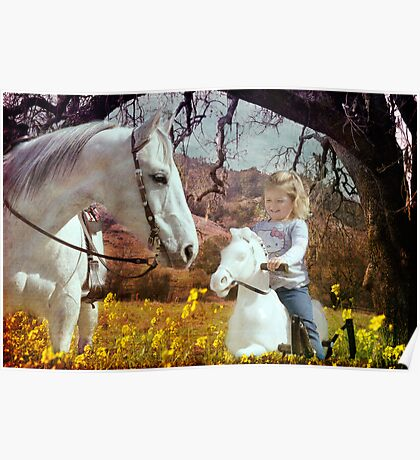 My new ride - A girl and her -plastic- pony Poster