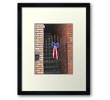 Old Iron Gate and US Flag Banner Framed Print