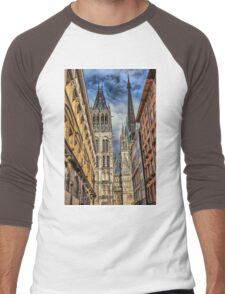 France. Normandy. Rouen. Looking at the Cathedral Towers. Men's Baseball ¾ T-Shirt