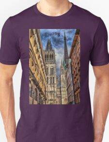 France. Normandy. Rouen. Looking at the Cathedral Towers. Unisex T-Shirt