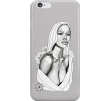 Lady in Towel with Flowers: Tonal Fineliner Drawing iPhone Case/Skin