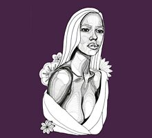 Lady in Towel with Flowers: Tonal Fineliner Drawing Unisex T-Shirt