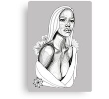 Lady in Towel with Flowers: Tonal Fineliner Drawing Canvas Print