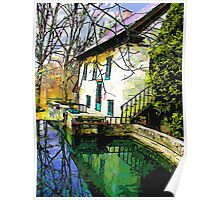 Old Stone House on Mill Pond in Vermont Poster
