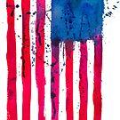 Watercolor Flag of the USA vertical by Anastasiia Kucherenko