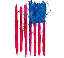 Watercolor Flag of the USA vertical Photographic Print