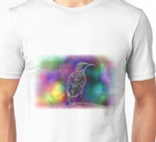 Colorful abstract bird and music notes. Unisex T-Shirt