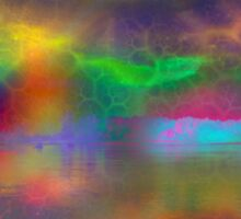 Colorful abstract landscape over lake Sticker