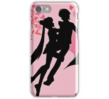 sailor moon silhouette with blossoms iPhone Case/Skin