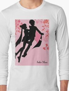 sailor moon silhouette with blossoms Long Sleeve T-Shirt