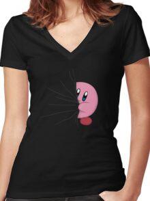 HIDDEN KIRBY! Women's Fitted V-Neck T-Shirt