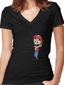 HIDDEN MARIO ! Women's Fitted V-Neck T-Shirt