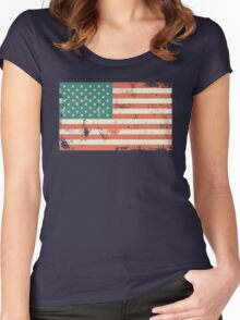 Grungy US flag Women's Fitted Scoop T-Shirt