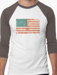 Grungy US flag Men's Baseball ¾ T-Shirt