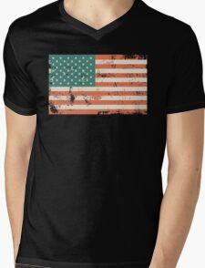 Grungy US flag Mens V-Neck T-Shirt