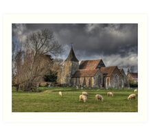Sheep may safely graze Art Print
