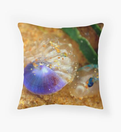 Purple sea snail + blue-bottle Throw Pillow