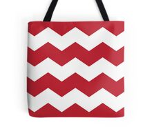 Cherry Red Chevron Print Tote Bag
