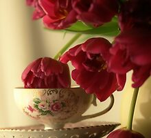 Graceful Tulips stopping by for a sip of Tea by KatWolfe