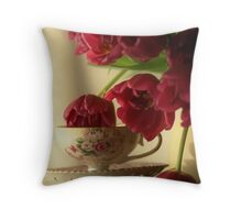 Graceful Tulips stopping by for a sip of Tea Throw Pillow