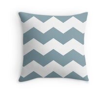 Dusty Blue Chevron Print Throw Pillow