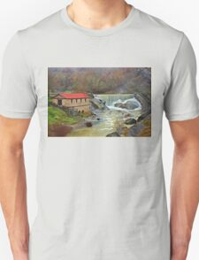 A watermill, a waterfall and a heart shaped rock Unisex T-Shirt
