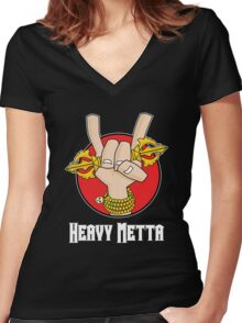 Heavy Metta - Dharma Metal horns (color) Women's Fitted V-Neck T-Shirt