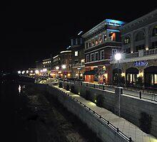 River Walk at Night Along the Napa River by Richard  Leon