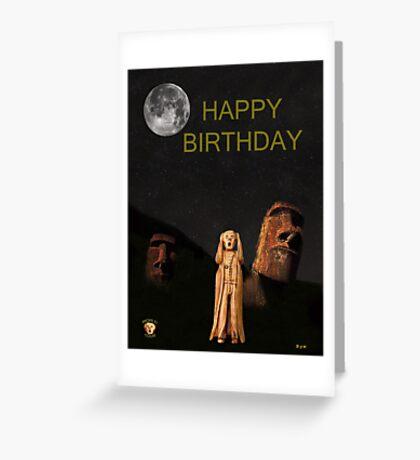 Easter Island The Scream World Tour Happy Birthday Greeting Card